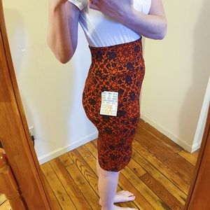 Orange and blue LuLaRoe pencil skirt